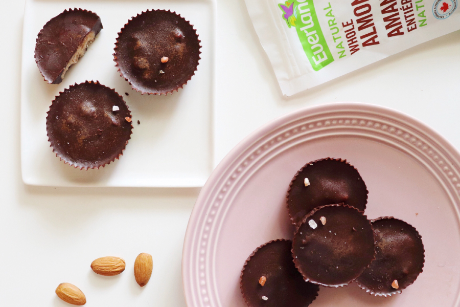 5 ingredient almond butter cups with dark chocolate and coconut